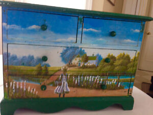 Solid Wood Small Dresser, Anne of Green Gables painting motif on