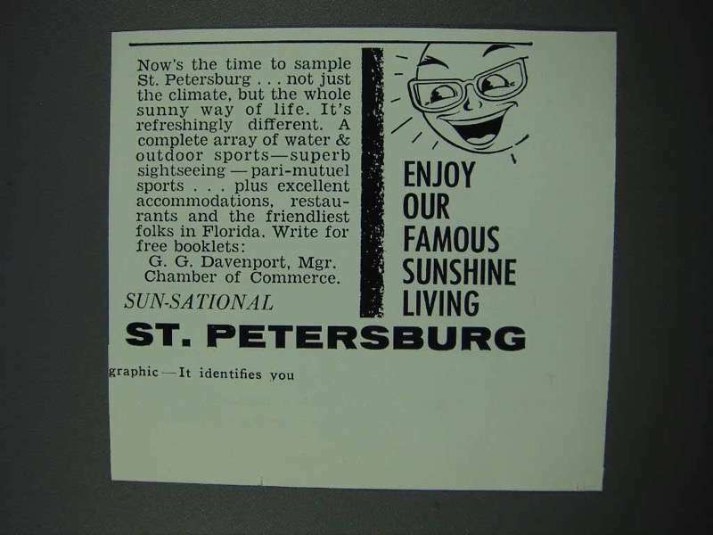 1961 St. Petersburg Florida Tourism Ad - Sunshine
