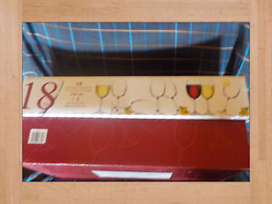 Wine Glasses Box of Eighteen New in Storage Box 340ml