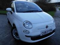 2013 63 FIAT 500 1.2 LOUNGE 3D 69 BHP ** GLASS ROOF , ALLOYS , IN WHITE , ONLY 3