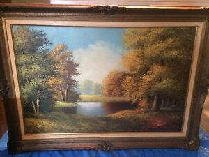 Vintage Oil Painting Custom Framed on Canvas