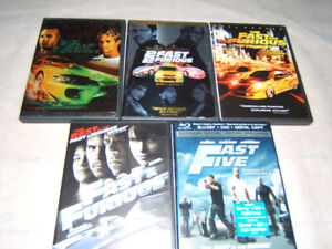THE FAST AND THE FURIOUS MOVIES 1-5  DVD BLU RAY