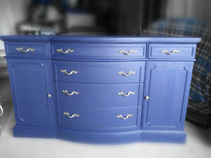 SALE Gorgeous Antique Sideboard Newly Refinished in BLUE-CLEAN