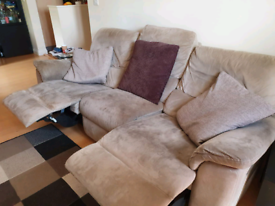 Large suede recliner sofa