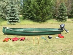 Freighter Canoe, 18 ft Fibreglass and Gear for sale