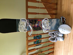 Snowboard, boots, helmet and goggles