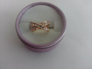 Rose Gold Plated & Crystal Ring - Size 5