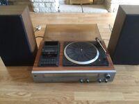 Vintage Pye stereo music system cassette tape, turn table, Radio + 2 speakers