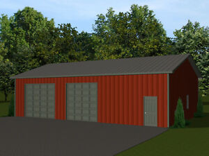 48x32 barn plan with 2 overhead garage doors pole building for 16 x 48 house plans