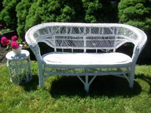"Wicker Settee White 2 Seater 56 1/2"" Wide with Plant Stand"