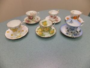 FOR SALE 6 Bone China Tea Cups and Saucers - $20.00. Call 306-35