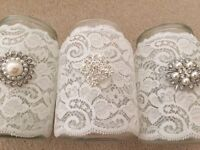 14 wedding lace jars with brooches