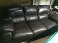 3 seater leather sofa, armchair and foot stool