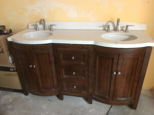 5' double vanity with taps and sinks