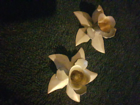 Pair of vintage brass flower candle holders