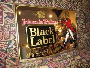 Vintage JOHNNY WALKER Etched Glass Wall Art Piece For Sale