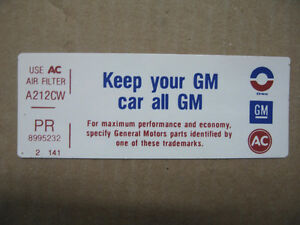 """GM Air Cleaner \ Breather """"Sticker \ Decal"""