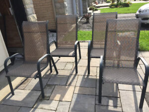 Patio Table & 4 Matching Sling Chairs