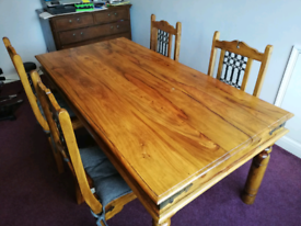 Jali Indian Solid Sheesham Wood DINING TABLE AND 6 CHAIRS