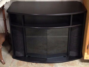 Black TV unit with lots of storage