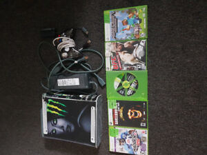 Xbox 360 console, LED controller, and games
