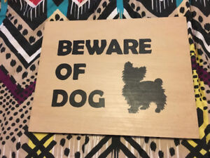 Beware of dog sign/Yorkie- by local business