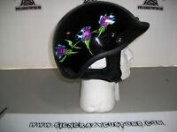 HLD Gloss Black Rose's Design Beanie Helmet, Large