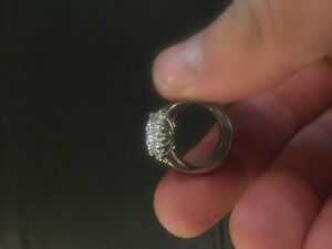 Maple Leaf Diamond engagement ring with 2 matching custom bands