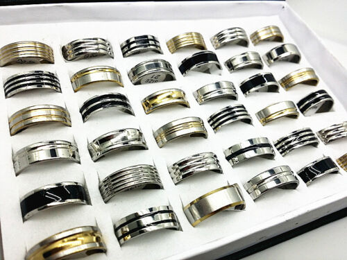 Wholesale 100pcs Black/Gold/Silver Stainless Steel Rings Jewelry for Men Women