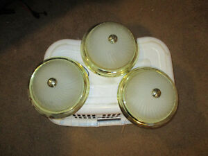 3 Flush mount frosted glass and brass ceiling lights