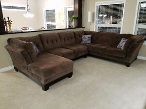 Dark Brown Ashley Furniture Sectional 3 piece Couch.