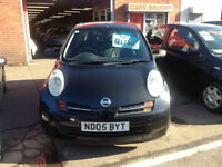 NISSAN MICRA 1.2 S BLACK,05 REG,3 DR, CHEAP INS ELEC WINDOWS £13 WEEK P/LOAN
