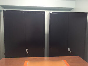 Black Office Cabinets and Brown Office Table
