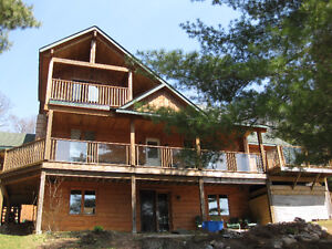 Waterfront Post and Beam Log Home
