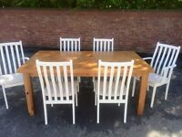 Large Pine table & chairs