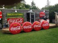 COCA COLA COKE 4FT x 8FT SIGNS, BUTTONS, GAS STATION SIGNS