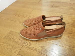ecco slip on mesh leather casual shoes