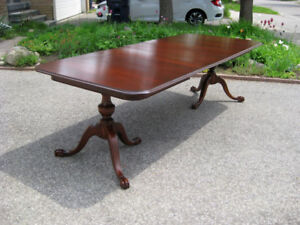 "Restored 100"" Antique Chippendale Mahogany Table, Chairs, Buffet"