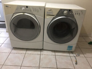 whirlpool duet frontload glass washer electric dryer working