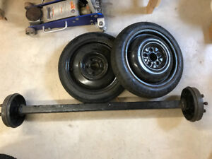 Axel, rims, and tires