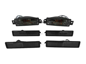 6PCS COMBO Smoke Bumper Signal+ F+R Side Marker Light For 89-91 BMW E30 3 Series