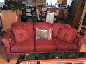 COLONIAL : 1/2 Price RUST COLOUR -3 cushion couch + chair
