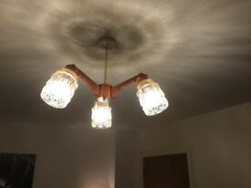 Original 70's Ceiling Light, Lamp Retro, Funky Fully Working, Wooden Glass 3 Lights, Reduced to £35