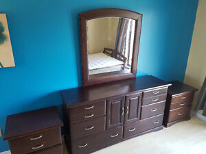 Bedroom set with queen sized bed frame