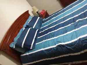 Queen mattress with headboard and footboard