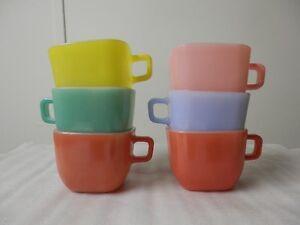 Vintage Retro Kitchen 1950's Glasbake (USA) Square Mug Set of 6