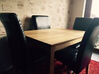 Dining Table & 4 Leather Look Chairs