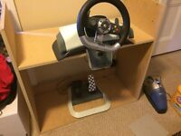 Xbox 360 steering wheel and pedal