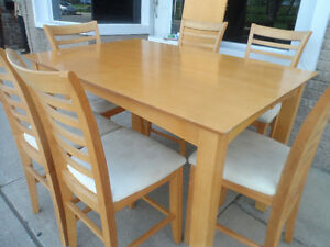 Dinning Room Table Set 6 Bar Chairs & Leaf
