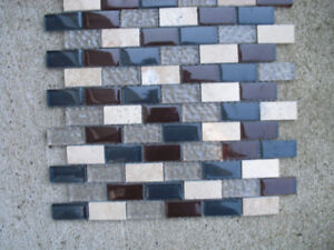 17 square feet of glass and ceramic tile